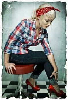 Pin up style. Cute button shirt jeans and heels , most already have these in their closets !