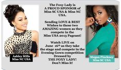 These two #Fierce #Diva's will #wow you on #stage, blow you away with their #beauty, and capture your heart with their #sweet, #kind, #funny, #loving, #sincere, down-to-earth, and #smart #personality. We are so #Proud to have been chosen to #Dress them for this #incredible #competition! #Vote for them at MissUSA.com and watch #LIVE on #June16th! #missnc#misssc#missusa #pageant#PageantHeadquarters #ShopFoxyLady