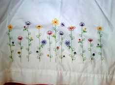 Pretty Vintage Hand Embroidered PIllow Case. $8.00, via Etsy.