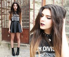 Joy Division T Shirt, Asos Leather Skater Skirt, Etsy Vintage Chunky Boots