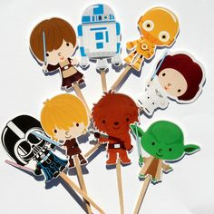 BabaPuffBaby graphics, Star Wars cupcake toppers from PaperPartyParade, etsy, $6