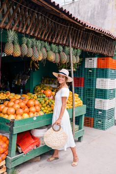 Gal Meets Glam Shopping in Tulum - Reformation dress, Carrie Forbes sandals, Kayu bag & Mapache by James hat Girl Meets Glam, White Linen Dresses, Looks Street Style, Vacation Style, Vacation Outfits, Palace Hotel, Foto Pose, Poses, Denim Fashion