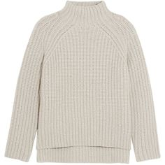Theory Ribbed wool-blend turtleneck sweater ($615) ❤ liked on Polyvore featuring tops, sweaters, light gray, turtleneck top, light grey sweater, theory turtleneck, ribbed top and ribbed turtleneck