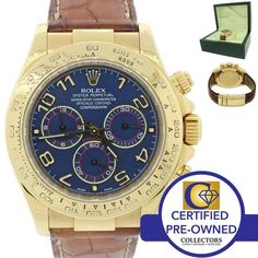 Rolex Daytona Cosmograph 116518 Blue 18K Yellow Gold Chronograph Watch w/ Box Collectors Brand Rolex (Guaranteed Authentic) Model Daytona Reference Number 11651