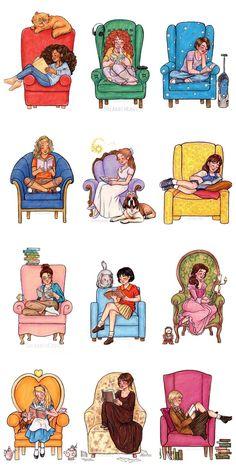 Hermione Granger(Harry Potter), Eleanor(Eleanor and Park), Hazel Grace(The fault. I Love Books, Good Books, Books To Read, My Books, Illustration, World Of Books, Book Fandoms, Love Reading, Reading Books