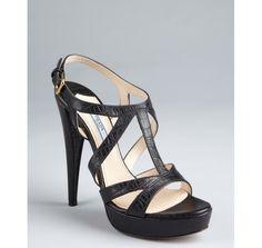 Prada black croc embossed leather platform sandals