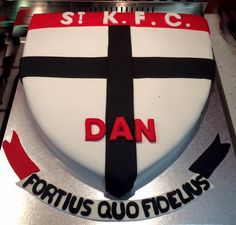 St Kilda Football Club cake Dad Birthday, Birthday Cake, 21st Cake, St Kilda, Cake Flavors, Kfc, How To Make Cake, Saints, Birthdays