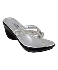 Look at this #zulilyfind! Silver Rhinestone Perfect Sandal by Agape #zulilyfinds