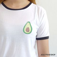 Avocado Shirt Cute Tumblr Tshirt Drawing Pocket Tee Funny Gift ($15) ❤ liked on Polyvore featuring tops, t-shirts, shirt top, pocket tops, pocket shirt, tee-shirt and pocket t shirt