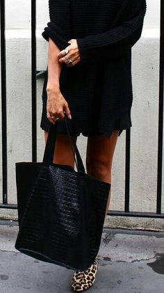 all black outfit with cheetah print flats // style