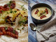 Zupa krem z pieczonego kalafiora Fresh Rolls, Cheddar, Vegetarian Recipes, Ethnic Recipes, Kitchen, Diet, Cooking, Cheddar Cheese, Kitchens