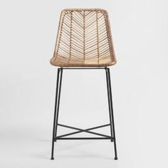 Natural Wicker Loren Counter Stool by World Market Woven Bar Stools, Wicker Bar Stools, Counter Stools With Backs, Bar Chairs, Desk Chairs, Rattan Stool, Modern Counter Stools, Dining Chairs, Ikea Chairs