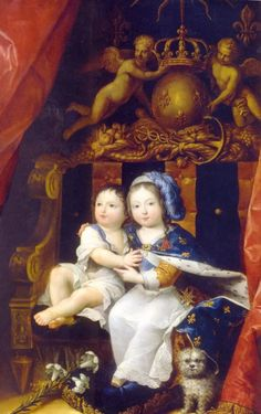 Louis XIV, roi de France, avec son frère Philippe, duc d'Anjou puis d'Orléans