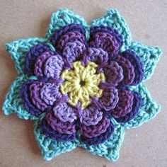 Discover thousands of images about Flower pattern. Changes - starts with magic circle (no round 9 correction: (instead of in ch for picot.How to Make Knitted Flowers - Hobby TimeMade this with yellows and reds, totally loved it. Crochet Crafts, Crochet Yarn, Yarn Crafts, Crochet Projects, Crochet Motifs, Crochet Flower Patterns, Crochet Squares, Crochet Appliques, Granny Squares