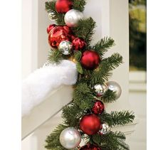 Outdoor Ornament Pine Garland - Red/Silver | Pottery Barn;; buy more garland for outside