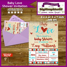Baby Love Baby Shower Showered With Love Aqua by DigiGraphics4u #baby #shower #invitation #love #neutral #gender @etsy