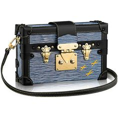 Petite Malle Epi Denim Epi Leather (€4.650) ❤ liked on Polyvore featuring bags, travel bag, epi leather bag and denim bag