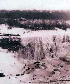 Niagara Falls frozen in 1911-At one time people were allowed on the ice...