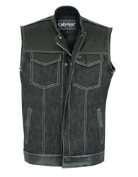 Men/'s Genuine Leather Vest with Denim Look
