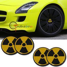 4PCS 56.5mm Radiation Aluminum Car Auto Wheel Center Hub Cap Emblems Stickers|Bio Hazard
