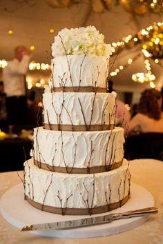 Rustic Burlap Wedding Cake with Tree Braches for Fall Winter Wedding