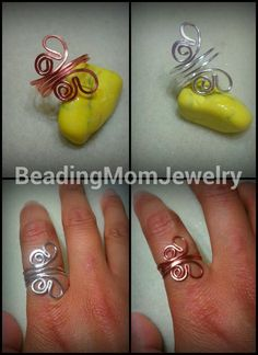 Butterfly adjustable ring Awww, how CUTE! Wire Rings Tutorial, Ring Tutorial, Wire Crafts, Jewelry Crafts, Handmade Jewelry, Handmade Rings, Wire Wrapped Jewelry, Wire Jewelry, Jewlery