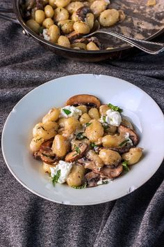 Creamy goat cheese mushroom gnocchi tossed in a creamy tangy sauce. The mint on top of all those over the top flavors makes each bite even more amazing.