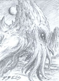 CTHULHU NO 29 original sci fi art, ACEO, lovecraft, cthulhu mythos, horror