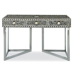 Black & White 2014 Color Trend: Bernhardt Interiors. Padma Desk, handcut bone inlay, mirror polished stainless steel