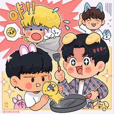 Exo Fan Art, Felix Stray Kids, Funny Faces, Nerdy, Cartoon, Wallpaper, Drawings, Cute, Anime
