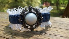 Upcycled Denim and Lace Bracelet by DenimReDooz on Etsy Denim Bracelet, Fabric Bracelets, Lace Bracelet, Bracelet Cuir, Fabric Beads, Fabric Jewelry, Hair Jewelry, Jewelry Bracelets, Jewelery