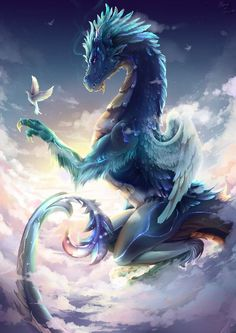 Dragon and Dove. Dragon and Dove. Dragon and Dove. Mythical Creatures Art, Mythological Creatures, Magical Creatures, Cool Dragons, Pictures Of Dragons, Fantasy Beasts, Beautiful Dragon, Dragon Artwork, Dragon Pictures