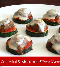 Healthy Zucchini & Meatball Pizza Bites recipe from {The Best Blog Recipes}