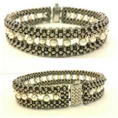 This stunning and elegant Cubic Right Angle Weave (CRAW) bracelet is ...