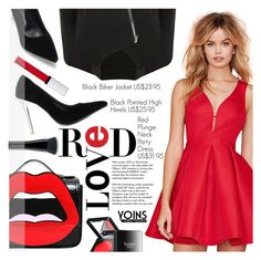 """Yoins 7:Hot Red Dress"" by pokadoll ❤ liked on Polyvore featuring Yazbukey, Tiffany & Co., Givenchy, Butter London, Marc Jacobs, women's clothing, women, female, woman and misses"