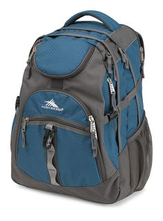 "High Sierra 53671-4960 Access Backpack, Lagoon/Slate. Large, multi-compartment design. Fully-padded CUSHION ZONE computer sleeve fits most 17"" laptops. Integrated TECH SPOT tablet computer sleeve (12.5 x 11 x 0.75 in.). Front compartment with convenient side access zipper. Tuck-away rain cover. Pockets: 1 interior slip, 5 exterior."