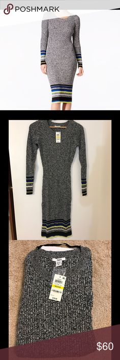 🆕BAR III stripped sweatee dress ❤️❤️❤️ PRODUCT DETAILS - Cotton/rayon, machine washable, pullover style, Hits at tigh, Crew neckline, Bodycon silhouette❤️❤️❤️ Great pair with anykind of boots ir heels and some scarf oh th neck! 💕💕💕 Bar III Dresses Long Sleeve
