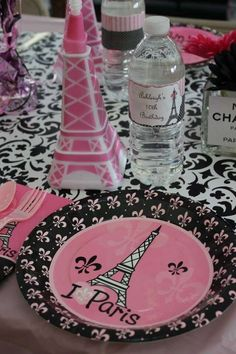 Party table at a Paris birthday party! See more party planning ideas at CatchMyParty.com!