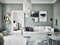 Do This, Get That Guide On Gorgeous White Living Room Decor - inspiredeccor Living Room Green, Home Living Room, Living Room Designs, Apartment Interior, Room Interior, Apartment Ideas, Green Apartment, Living Room Inspiration, Interior Inspiration