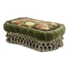 A VICTORIAN GREEN PLUSH AND NEEDLEWORK COVERED OTTOMAN, LATE 19TH EARLY 20TH CENTURY