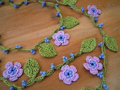 crochet necklace lariat lilac flower leaves by PashaBodrum on Etsy, $20.00