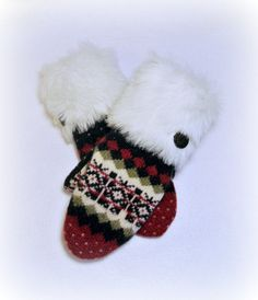 100 WOOL WOMEN'S Recycled Sweater Mittens  by DesignItAgainCrafts, $38.00