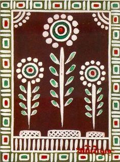 Looking at Art : Jamini Roy Activity Sheet Worli Painting, Watercolor Paintings Abstract, Fabric Painting, Saree Painting, Madhubani Art, Madhubani Painting, Folk Art Flowers, Flower Art, Abstract Flowers