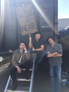 "Jared Padalecki ‏@jarpad  ·    ""@mishacollins:Shooting out last scene together for season 11. #TheEndIsNear @jarpad  @JensenAckles "" He meant ""our"""