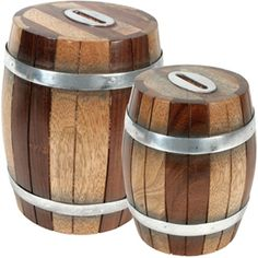 Wooden Barrel Banks | One World Projects $26