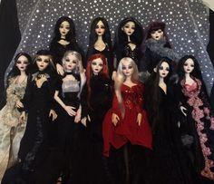 """Group pic of """"the Black Belles of Elysian Fields"""" (my resin Evangelines.)"""