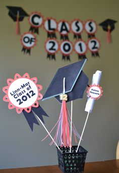 High School Graduation Centerpieces and banner