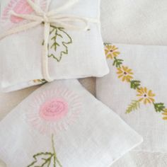 Set of 2Lavender filled vintage embroidered linen by roxycreations