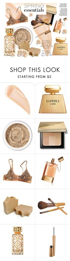 """""""In Bloom: Spring Perfume"""" by style-lena ❤ liked on Polyvore featuring beauty, Kevyn Aucoin, La Perla, Aromatherapy Associates, Bobbi Brown Cosmetics, Chloé, Tory Burch, MAC Cosmetics and Philip Treacy"""
