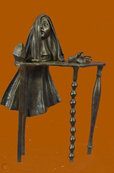 Bronze Sculpture Hot Cast Old Witch By Salvador Dali Home/Office Decor Figurine | #1869118099